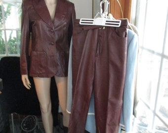 Leather Blazer & Pants by Dan di Modes 24K~  USA  Womens Vintage Leather Suit