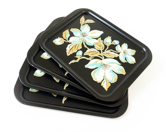Vintage 1950s Tray / 50s Set of 4 Tin Serving Trays / Black with Gold Turquoise Cherry Blossoms / Country Cottage, Shabby, Retro Kitchen