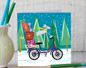 Illustration Of A dog Delivering Christmas Presents - Weimaraner Christmas Card - Cute Dog Greetings Card