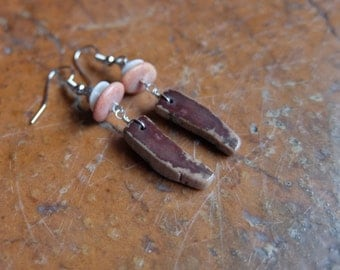 Petrified Wood, beach pebble earrings - earthy natural stone jewelry handmade in Australia by NaturesArtMelbourne