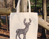 Reindeer Deer Tote Bag Market Bag Graphic READY TO COLOR Zendoodle Adult Coloring Original Drawing Cotton Canvas Great Christmas Gift