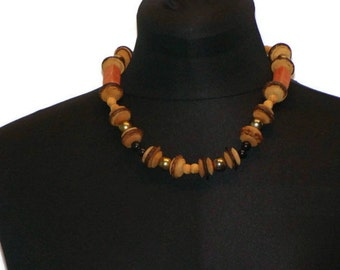 Vintage Wood and Clay Bead Tribal Necklace Wooden Beads Necklace Beaded Choker Necklace Tribal Choker Necklace Brown Choker Necklace