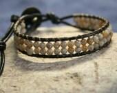 earthwrap : PAINT RIVER, cuff mens bracelet rustic earthy leather bead jewelry
