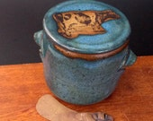 Large Stoneware French Butter Crock With Clay Knife ~ Cow Design ~ holds 2 sticks ~
