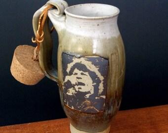 Large Stoneware Travel Mug With Cork ~ Mick Jagger Design ~