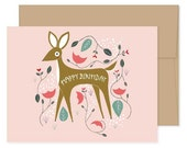 Happy Birthday Card, Birthday Deer, Happy Mail, Celebration Card, Happy Birthday, Birthday Card For Kid, Girl Birthday Card, Deer Card