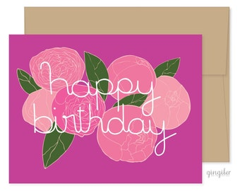 Birthday Card, Celebrations, Peonies, Flower Card, Pink Flower Birthday Card, Birthday For Her, Birthday Flower Card, Pink Birthday Card