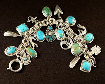 Turquoise and Sterling Silver 20-Pendant Charm Bracelet