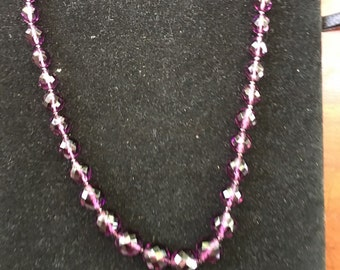 Vintage Amethyst  Glass Faceted  Bead Necklace