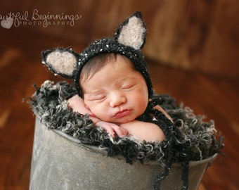Black Cat Photo Prop Baby Kitty Hat Newborn Kitten Girl Bonnet Boy Costume Animal Woodland Cap Photography Going Home Outfit Ready Ship