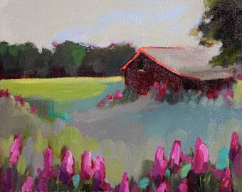 Original Oil Painting, contemporary art- original art- landscape, barn painting, flower landscape, 8x8 inch
