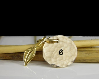 GRADUATION GIFT - Gold Initial Necklace - Initial & Leaf Necklace - Gold Disc Initial Jewelry