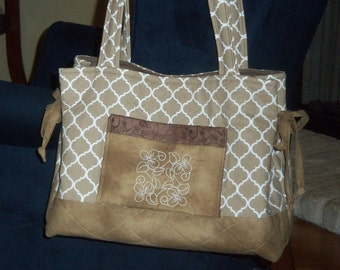 Quilted Tote Bag on Brown Print and Ready to Ship