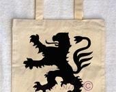 Cotton Tote Bag with a Rampant Lion (Design #2)