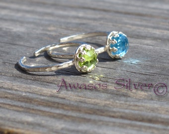 Beautiful Swiss Blue Topaz and Peridot Sterling Silver Rings. Rose cut swiss blue topaz and peridot set in sterling silver. Handcrafted.