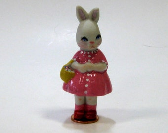 "Handcrafted Porcelain 3"" Penny Doll Bunny In Pink"