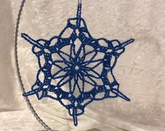 Crochet Snowflake Ornament (bright blue)