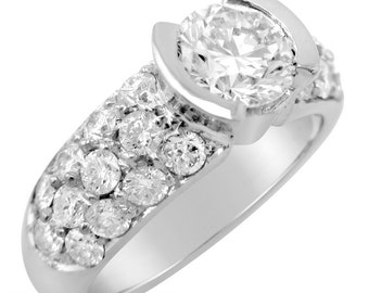 2.10ctw round cut semi bezel pave diamond engagement ring 14k white gold