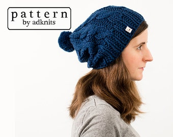 Chunky Hat Knitting Pattern, Slouchy Cable Winter Hat, Beanie PDF Pattern, Digital Download - Aspen Hat Pattern