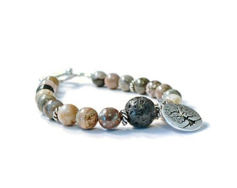 Aromatherapy Essential Oil Diffuser Bracelet, Silver Leaf Jasper and Natural Lava Stones
