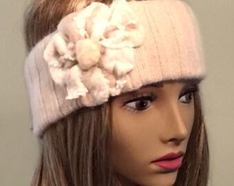 Tammie, 100% pure Cashmere Headband, Ivory