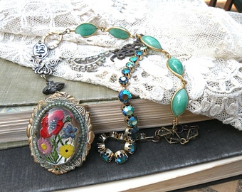 fall floral eclectic necklace assemblage random mix link