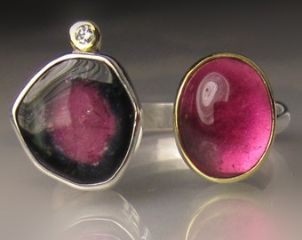 Watermelon Tourmaline Ring, Pink Tourmaline Ring, 18k Yellow Gold and Sterling Silver, Open Stone Cocktail Ring - size 6.75
