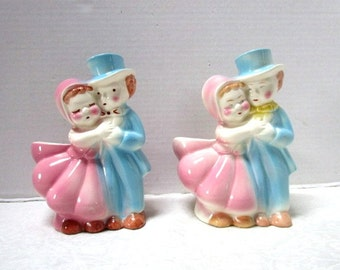 Choice Vintage Planter, Courting Couple Dancing Man and Woman, Pastel Pink Blue, Cute Kitsch, Wedding Decor, Pencil Holder, Ceramic Bisque