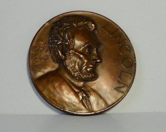 1920s LINCOLN Essay Medal Award.Large Heavy Bronze Coin. 1809-1865