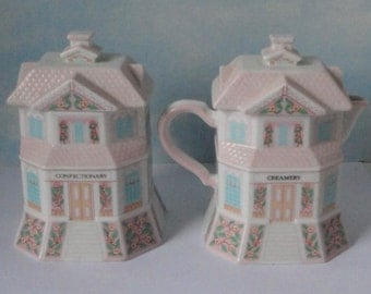 LENOX  Handcrafted Village Cream and Sugar. 1991. Creamery Confectionary.Fine Porcelain