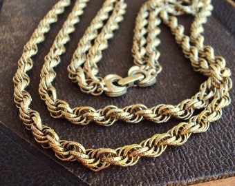 Vintage Double Chain Necklace Textured Links Antique Gold Chunky Statement Chain Mod Modernist 1960s 60s Costume Jewelry Bow Tie Clasp