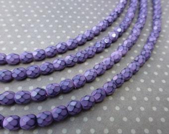free UK postage - Fire polished beads 4mm Snake Beads Lilac - 38 beads per strand