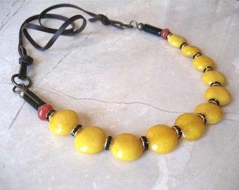 SALE - Sunflower Jade Leather Necklace