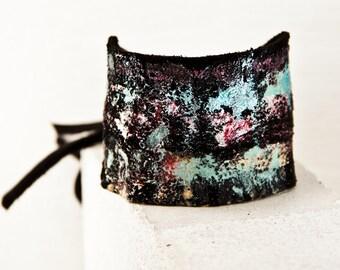 Handmade Christmas Gift Idea - Leather Art Gypsy Jewelry Bohemian Bracelet - 2017 Hippie Accessories - Leather Cuffs Wristbands