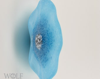 MADE TO ORDER Blown Glass Wall Art Ocean Pool Blue Poppy Flower Wall Decor Art Glass Sculpture