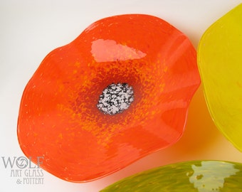 MADE TO ORDER Bright Orange California Poppy Flower Blown Art Glass Wall Art Sculpture