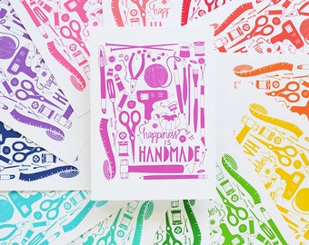Happiness is Handmade, choose your color, Creativity, Illustration, Makers, Crafter, Crochet, Knitting, Music, Sewing, Art, Yarn Art Print