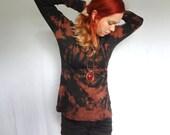 Black tie dyed long sleeve shirt. Comfy, loose style long sleeve skirt. Medium size. Goth, alternative casual wear. Bleach dye on black