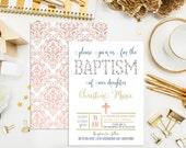 SALE. Printable Floral Baptism Invitation. Custom Baptism Invites. Christening Invitation. First Communion. Confirmation. Flower Baptism