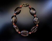 Smoky Quartz Sunstone Bracelet, Smoky Quartz Bracelet, Smoky Quartz Jewelry, Faceted Sunstone, Brown Bracelet, Brown Jewelry, Brown Orange