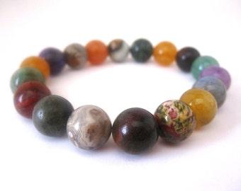 Multi Stone Bracelet, Stretch Multistone 10mm Round Beads, Multi Stone Stretch Bracelet, Multi Color Bracelet, Multi Stone Jewelry