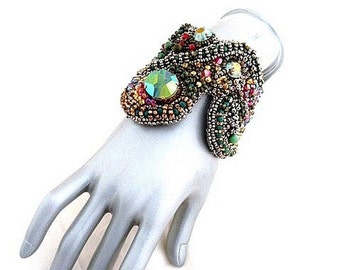 green fuchsia statement  bracelet , jean paul gaultier swarovski crystal , haute couture jewelry , military green cuff , fall winter trends