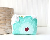 Aqua Floral Coin Purse Gift Card Credit Card Holder Floral Zipper Pouch Floral Change Purse