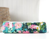 Pink and Teal Small Pencil Pouch Skinny Pencil Case Cute Pencil Case Floral Purse Organizer