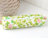 Pink and Green Cute Pencil Case Boxy Pouch Clovers and Grasshopper Zipper Pouch