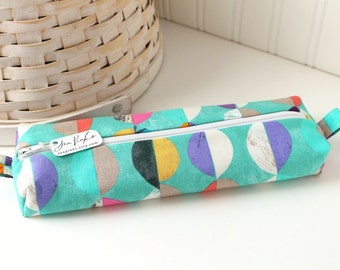 Teal Modern Colorful Pencil Case Boxy Pouch Geometric Print Teal Pencil Pouch