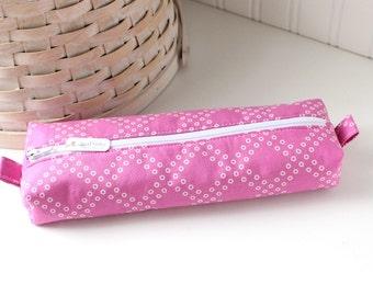 Dark Pink Pencil Case Magenta Boxy Pouch Fuchsia Geometric Print