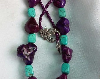 Large Turquoise and Purple Stone Necklace