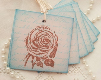 Vintage Inspired Garden Rose Tags Romantic Gray and Blue Set of 8 Wedding
