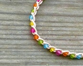 Rainbow Colors Anklet Crochet Cotton Ties On Adjustable Length and Size options.
